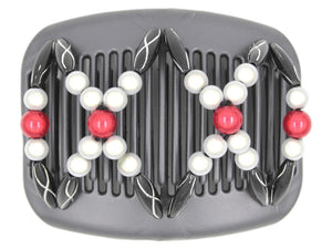 African Butterfly Hair Comb - Dalena Black Pearl 19