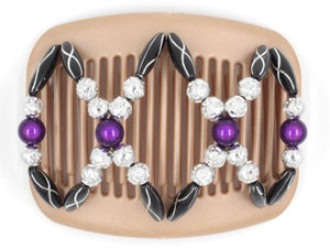 African Butterfly Hair Comb - Dalena Brown Pearl 19