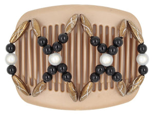 African Butterfly Hair Comb - Dalena Brown Pearl 23
