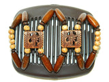 African Butterfly Hair Comb - Dupla Brown 01