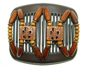 African Butterfly Hair Comb - Dupla Brown 40