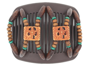African Butterfly Hair Comb - Dupla Brown 71