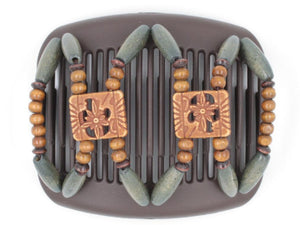 African Butterfly Hair Comb - Dupla Brown 74