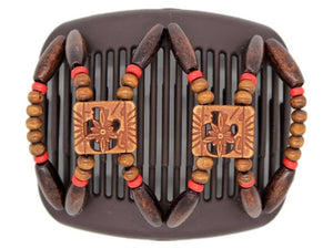 African Butterfly Hair Comb - Dupla Brown 81