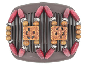 African Butterfly Hair Comb - Dupla Brown 93