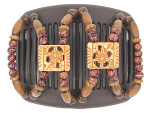 African Butterfly Hair Comb - Dupla Brown 94