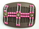 African Butterfly Hair Comb - Flowers Brown 05