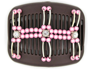African Butterfly Hair Comb - Flowers Brown 31