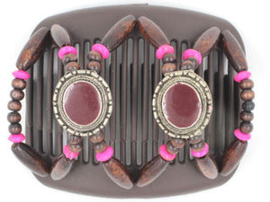 African Butterfly Hair Comb - Gemstone Brown 31