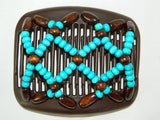 African Butterfly Hair Comb - Ndebele Brown 02