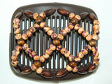African Butterfly Hair Comb - Ndebele Brown 03