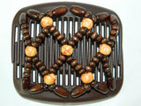 African Butterfly Hair Comb - Ndebele Brown 04