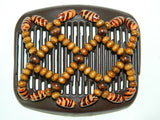 African Butterfly Hair Comb - Ndebele Brown 05