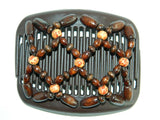 African Butterfly Hair Comb - Ndebele Brown 06
