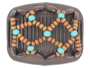 African Butterfly Hair Comb - Ndebele Brown 117