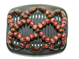 African Butterfly Hair Comb - Ndebele Brown 17