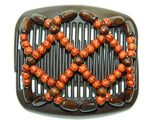 African Butterfly Hair Comb - Ndebele Brown 19