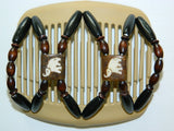 African Butterfly Hair Comb - Stones & Bones Blonde 11
