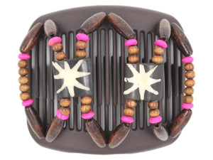 African Butterfly Hair Comb - Stones & Bones Brown 86