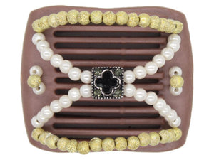 African Butterfly LadyBug Hair Comb - Brown Pearl 32