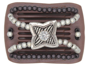 African Butterfly LadyBug Hair Comb - Brown Pearl 34