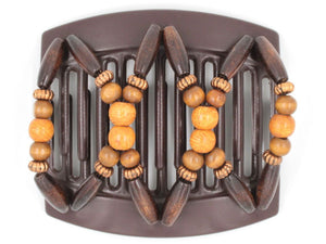 African Butterfly Thick Hair Comb - Beada Brown 128