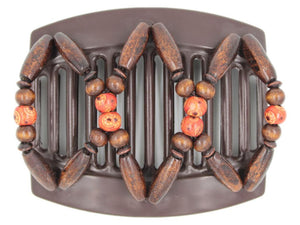 African Butterfly Thick Hair Comb - Beada Brown 173