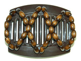 African Butterfly Thick Hair Comb - Beada Brown 47