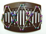 African Butterfly Thick Hair Comb - Beada Tube Brown 21