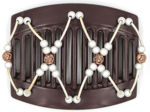 African Butterfly Thick Hair Comb - Beada Tube Brown 37