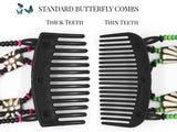 African Butterfly Thick Hair Comb - Dalena Black 100