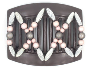 African Butterfly Thick Hair Comb - Dalena Brown 90