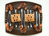 African Butterfly Thick Hair Comb - Dupla Brown 27