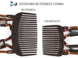 African Butterfly Thick Hair Comb - Flowers Brown 36