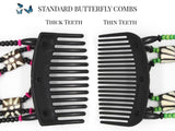 African Butterfly Thick Hair Comb - Gemstone Black 33