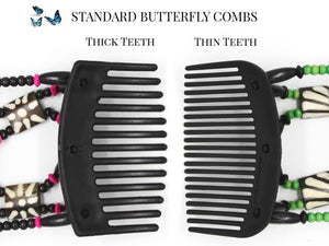 African Butterfly Thick Hair Comb - Ndebele Black 58
