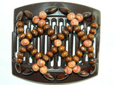African Butterfly Thick Hair Comb - Ndebele Brown 09