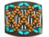 African Butterfly Thick Hair Comb - Ndebele Brown 10