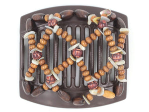 African Butterfly Thick Hair Comb - Ndebele Brown 103