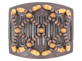 African Butterfly Thick Hair Comb - Ndebele Brown 107