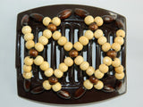 African Butterfly Thick Hair Comb - Ndebele Brown 11