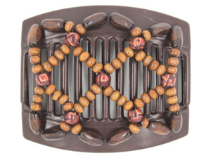 African Butterfly Thick Hair Comb - Ndebele Brown 119