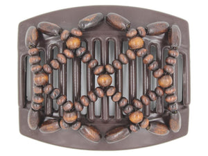 African Butterfly Thick Hair Comb - Ndebele Brown 120