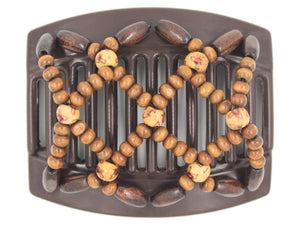 African Butterfly Thick Hair Comb - Ndebele Brown 122