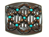 African Butterfly Thick Hair Comb - Ndebele Brown 39