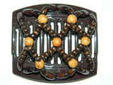 African Butterfly Thick Hair Comb - Ndebele Brown 41