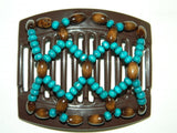 African Butterfly Thick Hair Comb - Ndebele Brown 45