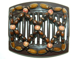 African Butterfly Thick Hair Comb - Ndebele Brown 60