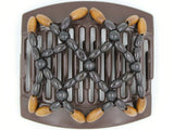 African Butterfly Thick Hair Comb - Ndebele Brown 76