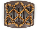 African Butterfly Thick Hair Comb - Ndebele Brown 81